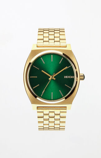 Time Teller Gold & Green Watch