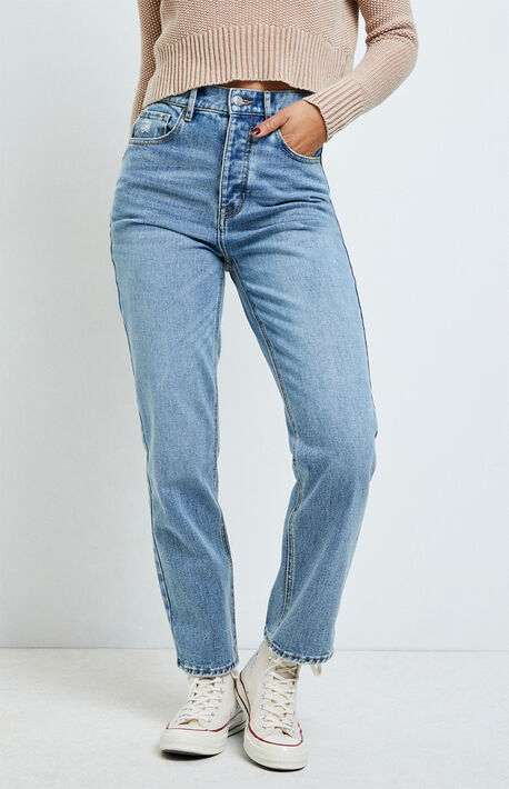 Jane Blue High Waisted Straight Leg Jeans