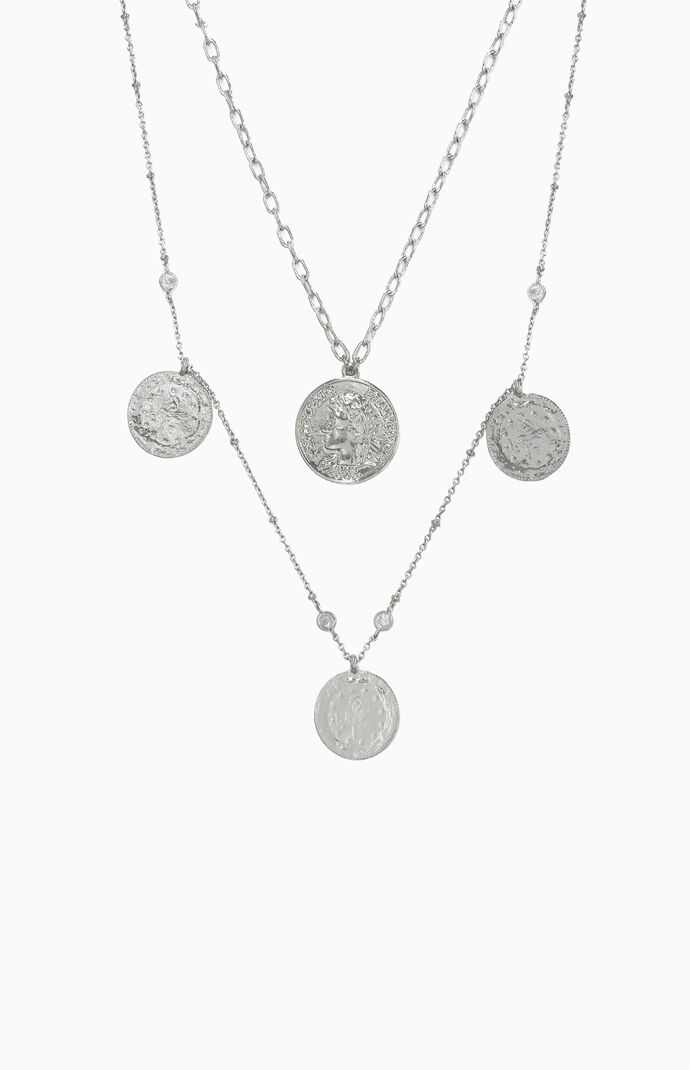 Elite Coin Crystal Layered Necklace