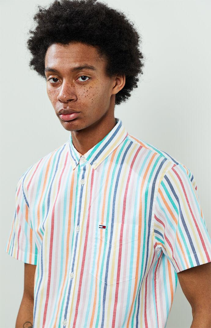 Striped Short Sleeve Button Up Shirt
