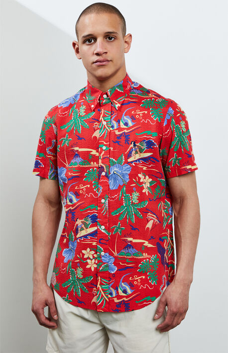 Tropical Seersucker Button Up Shirt