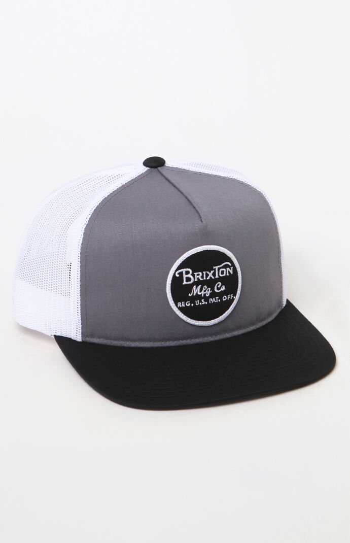 a72862cd716a7 Brixton Wheeler Gray and White Snapback Trucker Hat