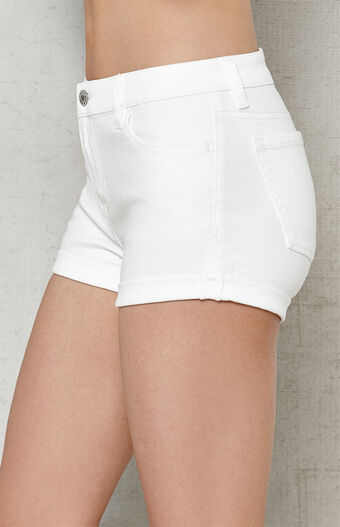 White Super Stretch Denim Shorts