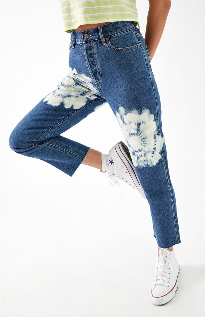 Tie Dye High Waisted Straight Leg Jeans