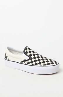 Women's Checkerboard Slip-On Platform Sneakers