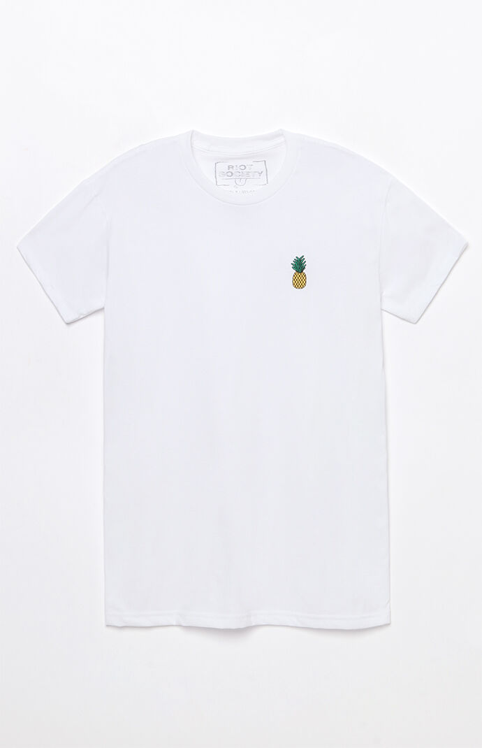 Riot Society Pineapple Embroidered T-Shirt - White 6763643