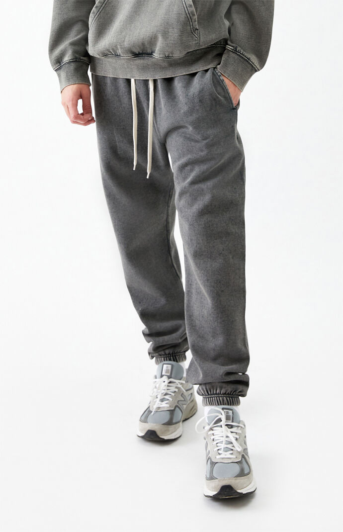 Washed Black Loose Fit Fleece Sweatpants