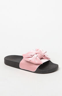 Velour Bow Slide Sandals