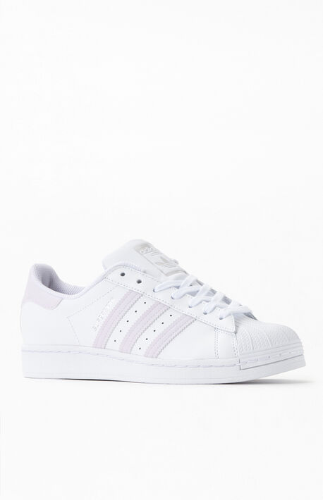 Women's Superstar White & Purple Shoes