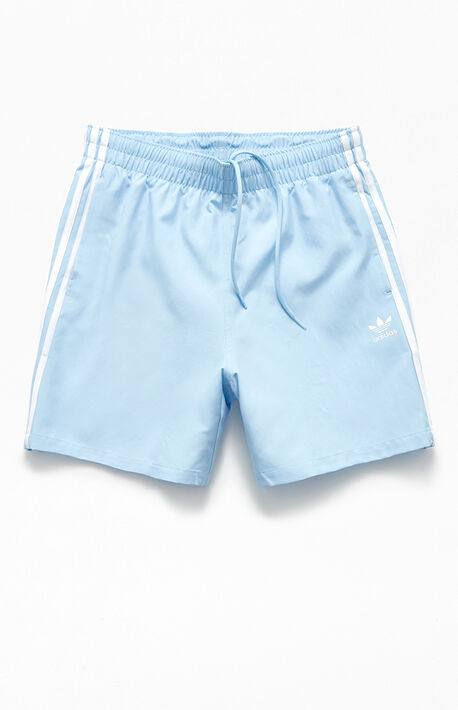 "Light Blue 3-Stripes 20"" Swim Trunks"