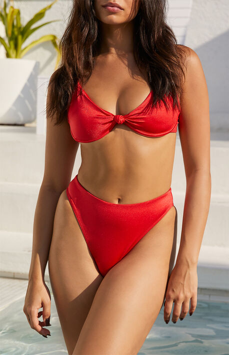 Red Shine Gia High Waisted Bikini Bottom
