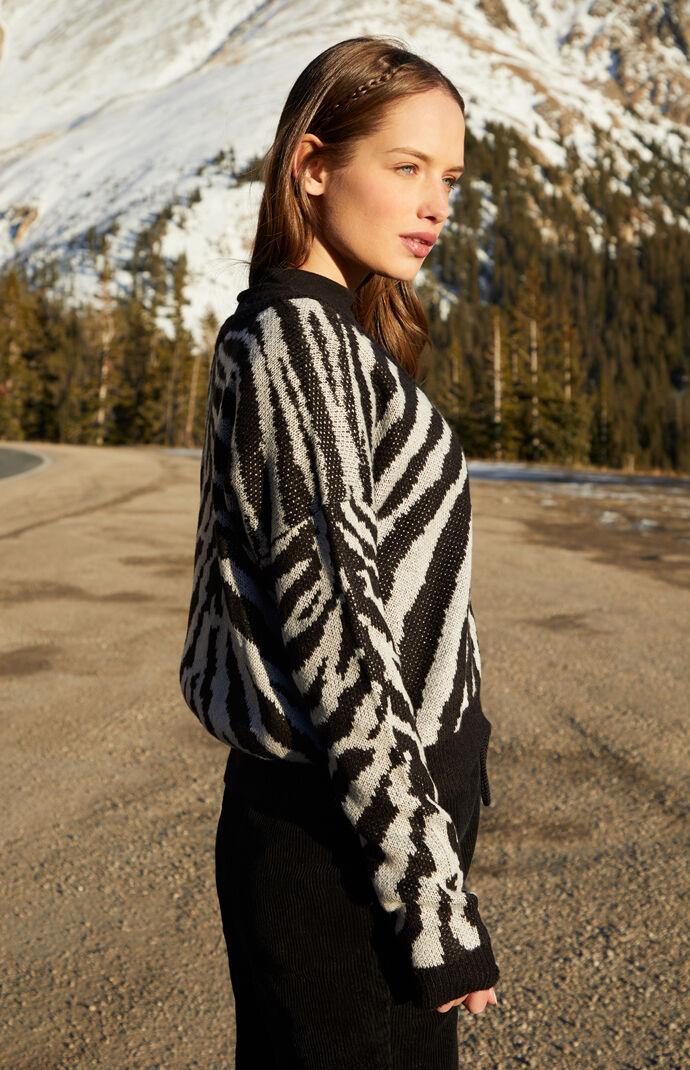 Long Sleeve Zebra Pullover Sweater