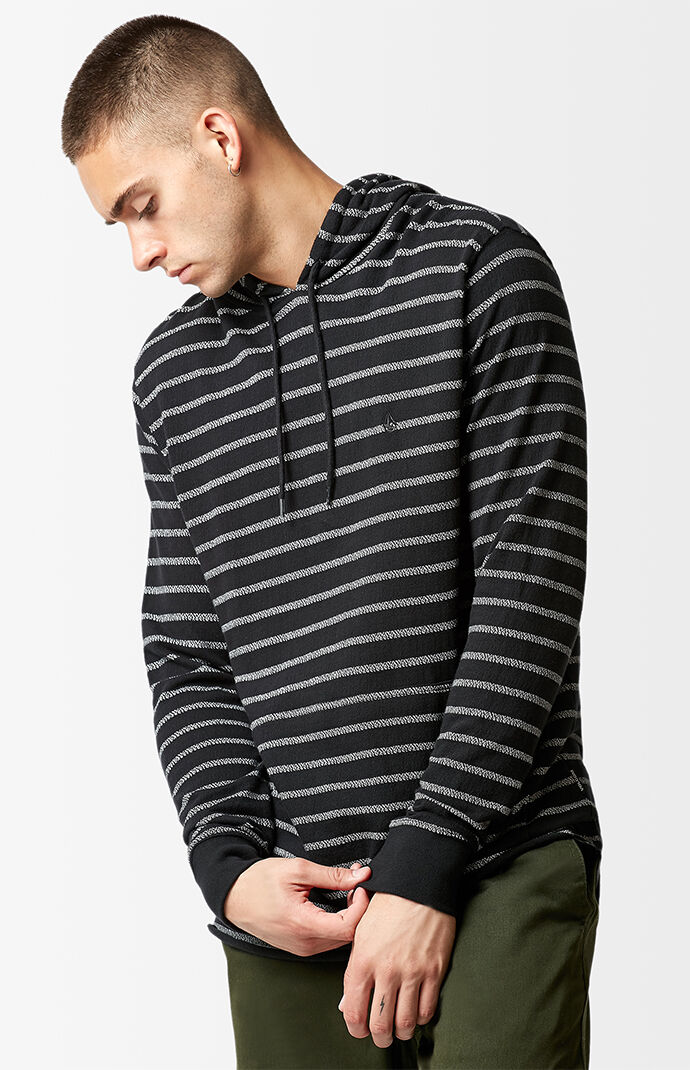 Volcom Breaker Striped Hooded Long Sleeve T-Shirt - Black 6853139