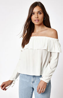 Long Sleeve Off-The-Shoulder Ruffle Top