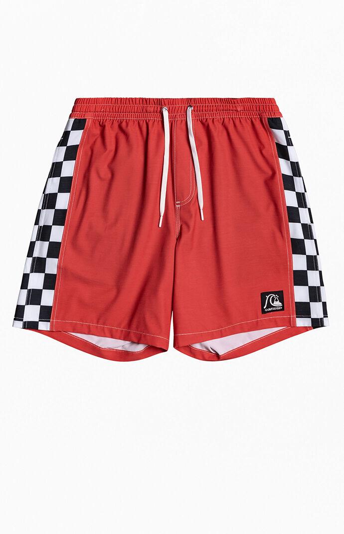 "Red Checker Arch 17"" Swim Trunks"