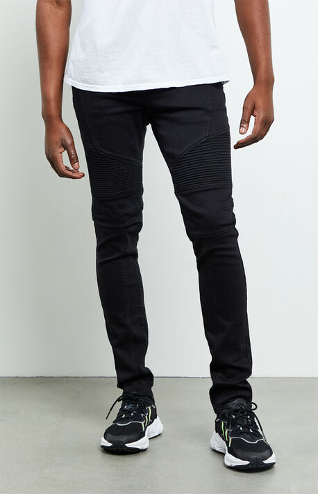 Black Moto Stacked Skinny Jeans