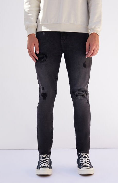 Black Biker Panel Stacked Skinny Jeans