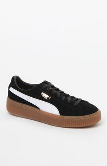Women's Black Suede Platform Core Sneakers