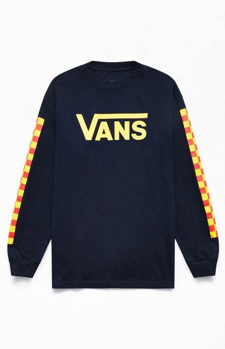 7932f3218b Navy Check Vee Long Sleeve T-Shirt · Vans ...