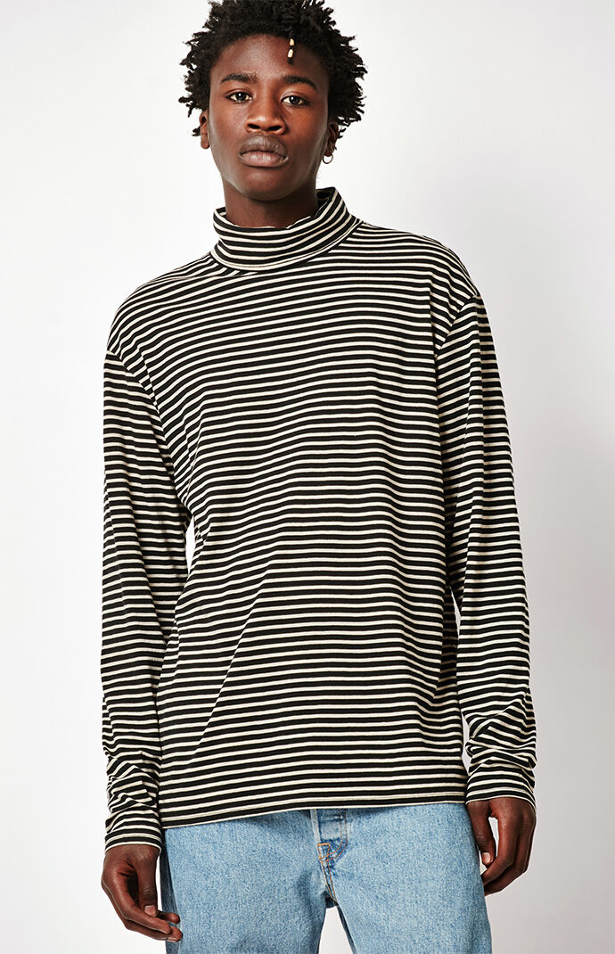 PacSun Pohl Striped Long Sleeve Turtleneck T-Shirt - Black/tan 7327661