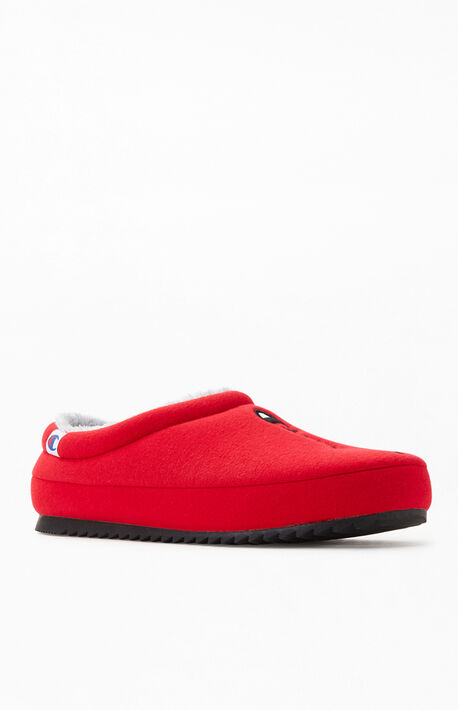 Red Shuffle Script Slippers