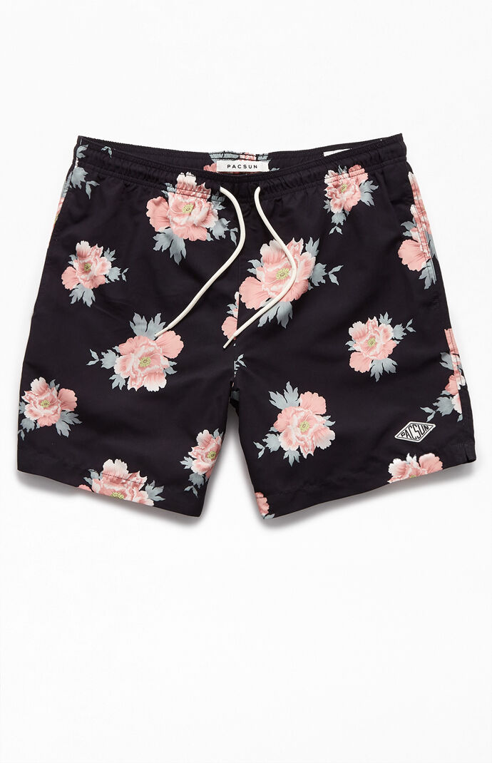 "Rose Floral 17"" Swim Trunks"