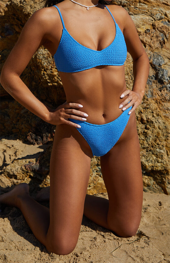Medium Blue Eden Scrunch High Waisted Bikini Bottom