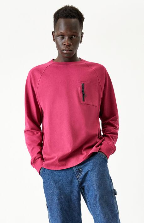 Zip Pocket Raglan Long Sleeve T-Shirt