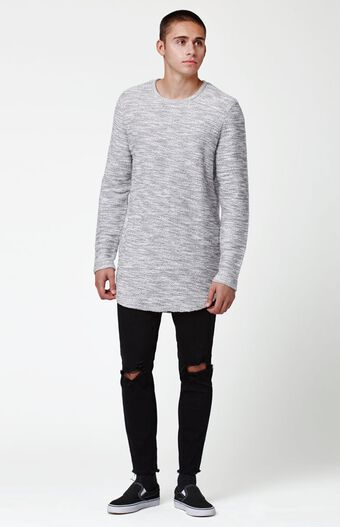 Tule Crew Neck Extended Length Scallop Sweater