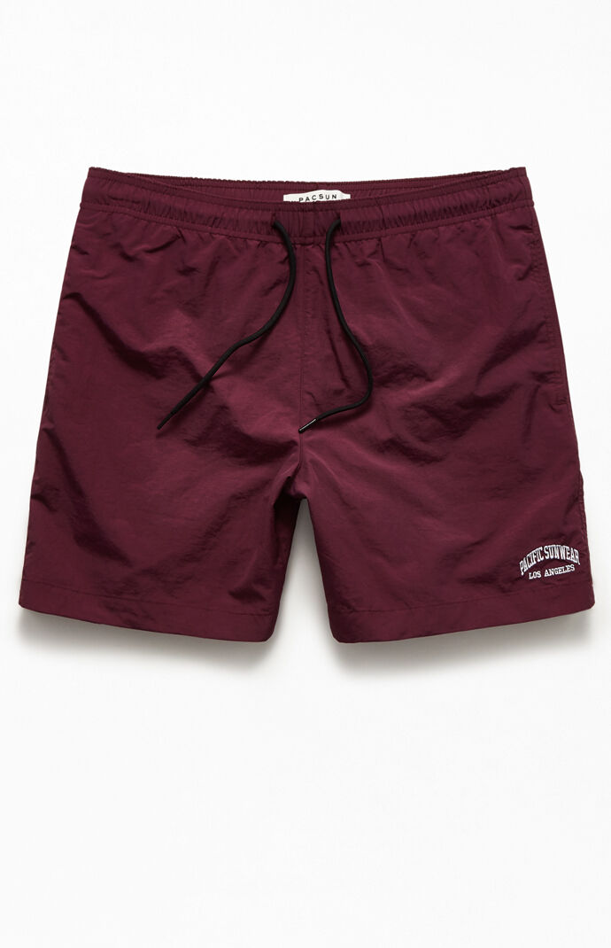"""Embroidered Logo Solid 17"""" Swim Trunks"""