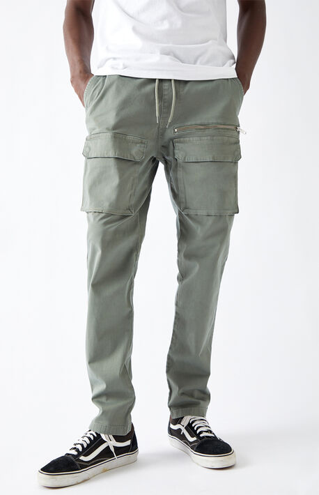 Utility Green Front Pocket Slim Cargo Pants