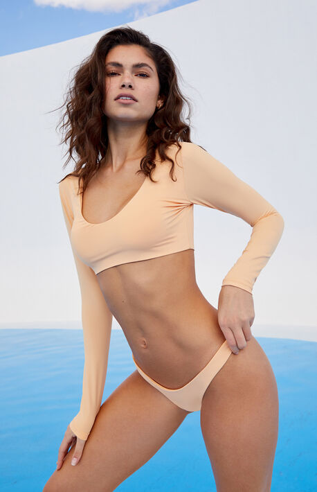 Eco Peach Sig Long Sleeve Cropped Bikini Top