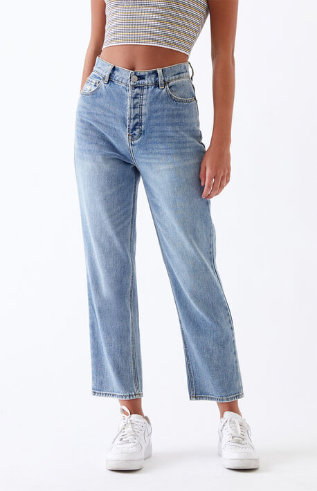 Light High Waisted Straight Leg Jeans