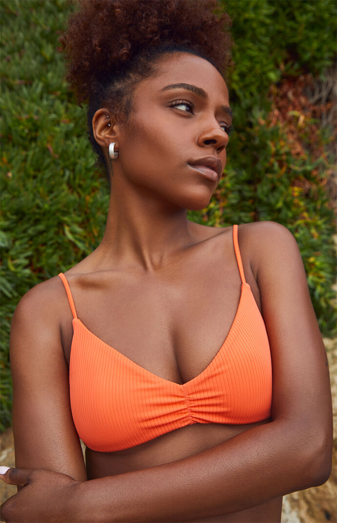 Orange Lea Cinched Bikini Top