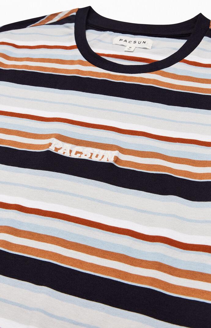 Embroidered Logo Striped Regular T-Shirt