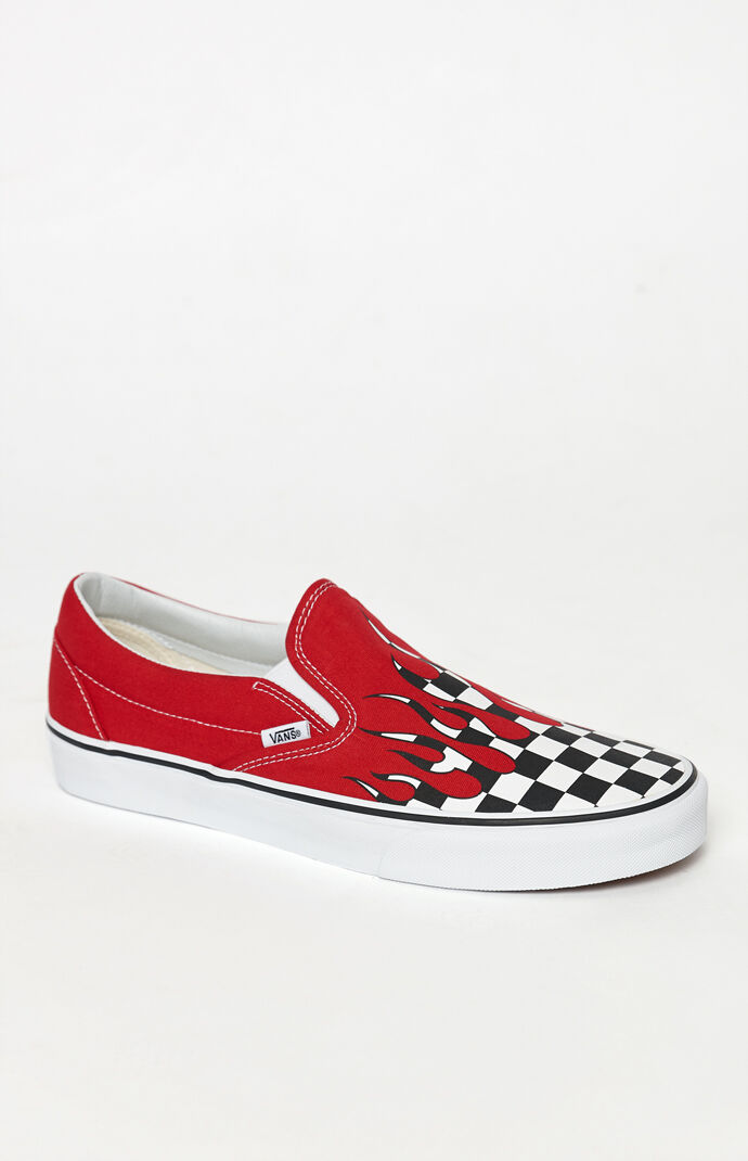 a72414bf2ce2 Vans Checker Flame Classic Slip-On Shoes