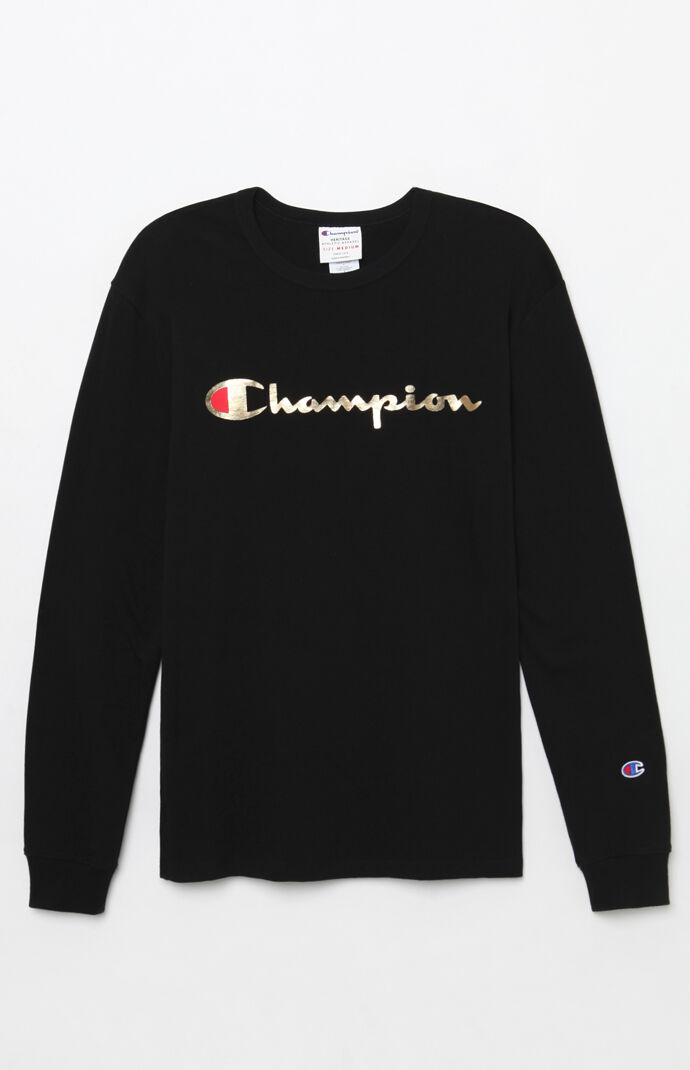 d35e2d46 Champion Gold Script Long Sleeve T-Shirt | PacSun