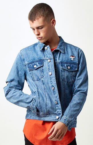 Destroyed Medium Wash Denim Jacket