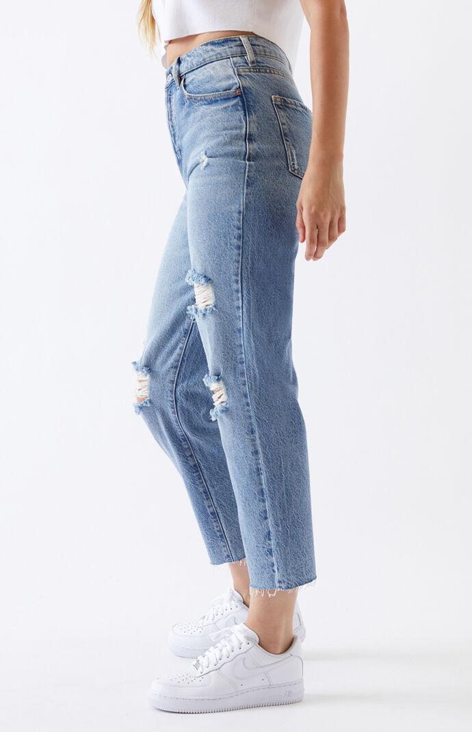 Light High Waisted Straight Leg Jeans