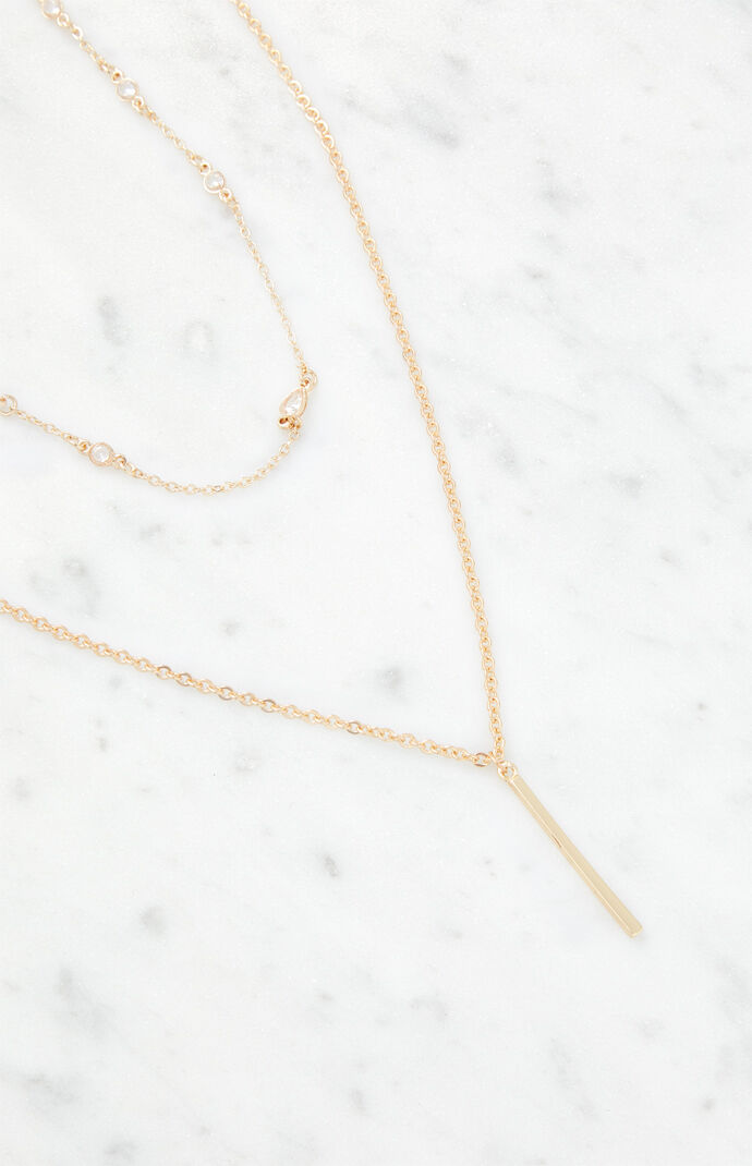 Gold Bar Drop Necklace Set