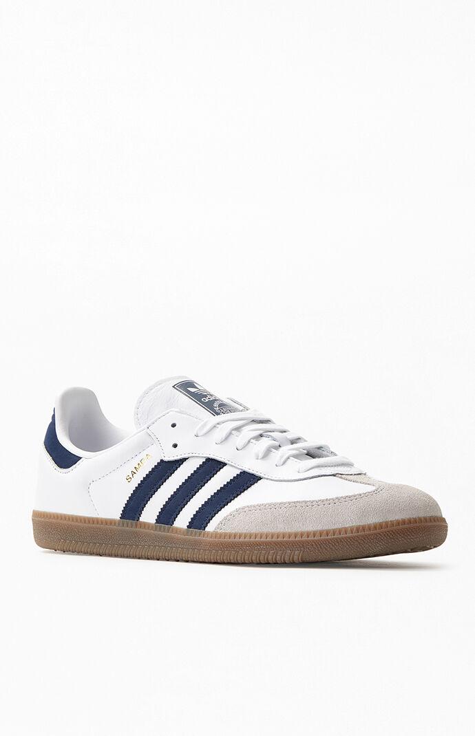 2aba6c2e5 adidas White and Navy Samba OG Shoes | PacSun