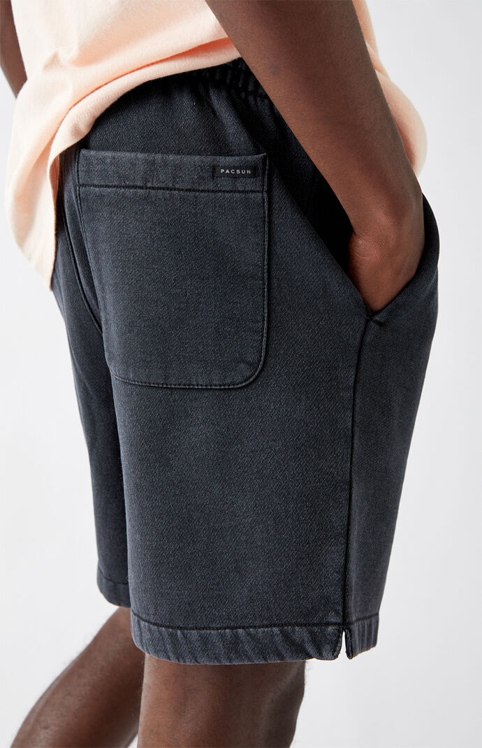 Black Vintage Wash Fleece Drawstring Volley Shorts