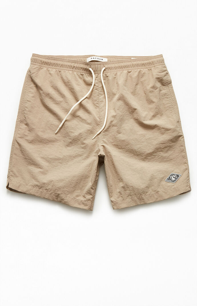 "Khaki Solid 17"" Swim Trunks"