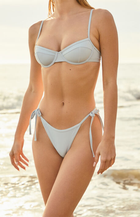 Blue La Jolla Binded Side Tie Bikini Bottom