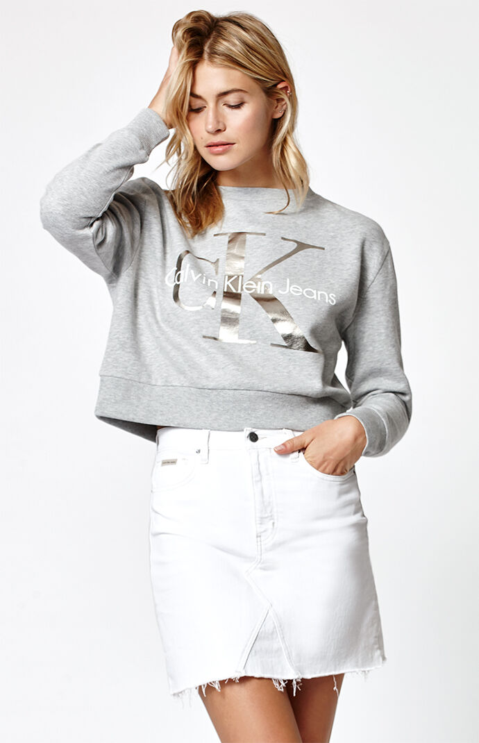 Calvin Klein Foil Cropped Sweatshirt - Heather Grey 6440481