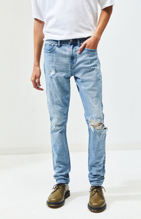 Destroy Light Stacked Skinny Jeans