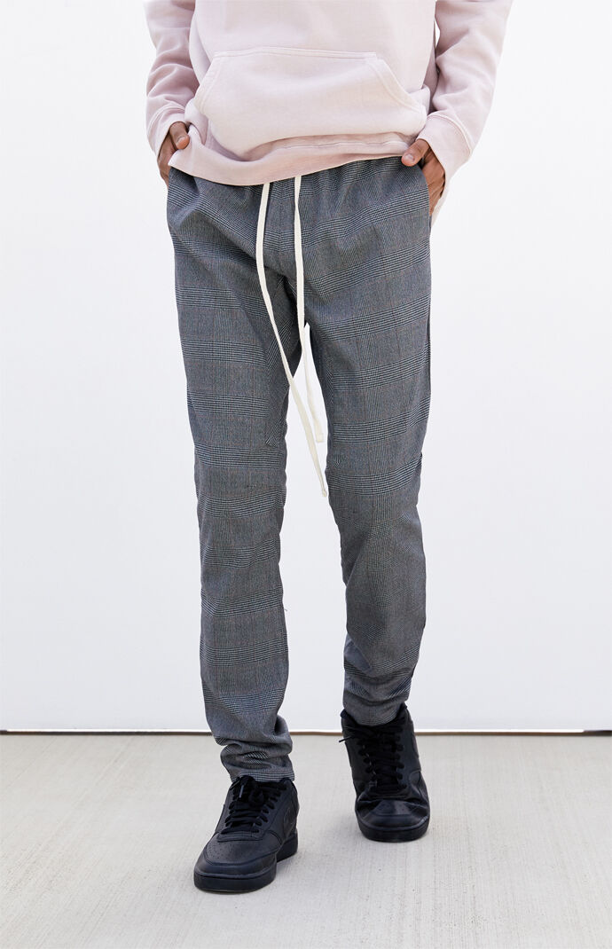 Gray Plaid Menswear Slim Fit Pants
