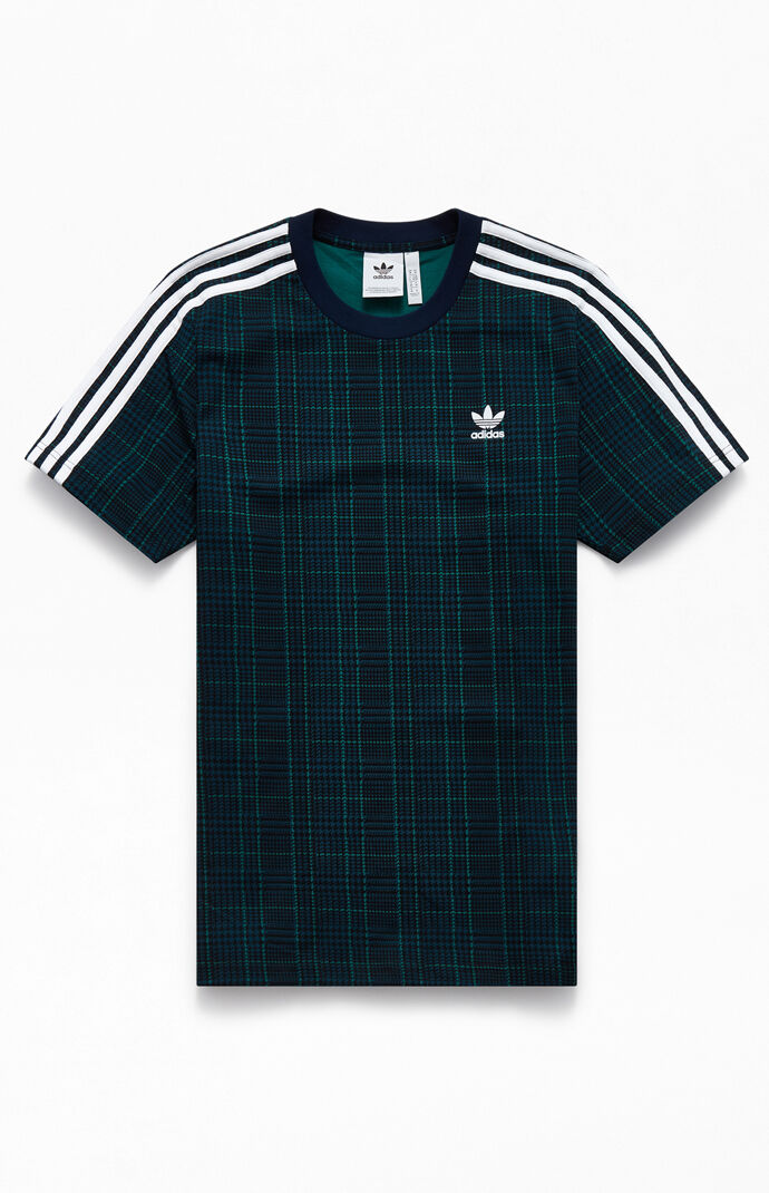 Adidas Tartan 3 Stripes T Shirt by Pacsun