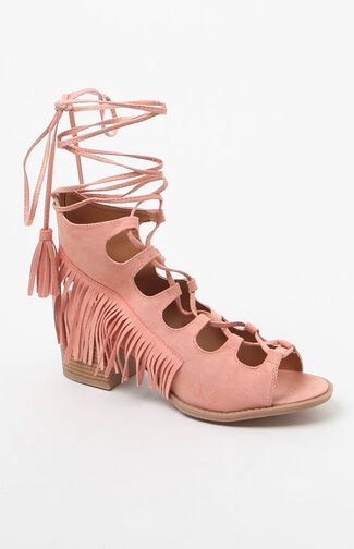 Faux Suede Fringed Lace-Up Sandals