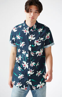 Flying Blooms Short Sleeve Button Up Shirt